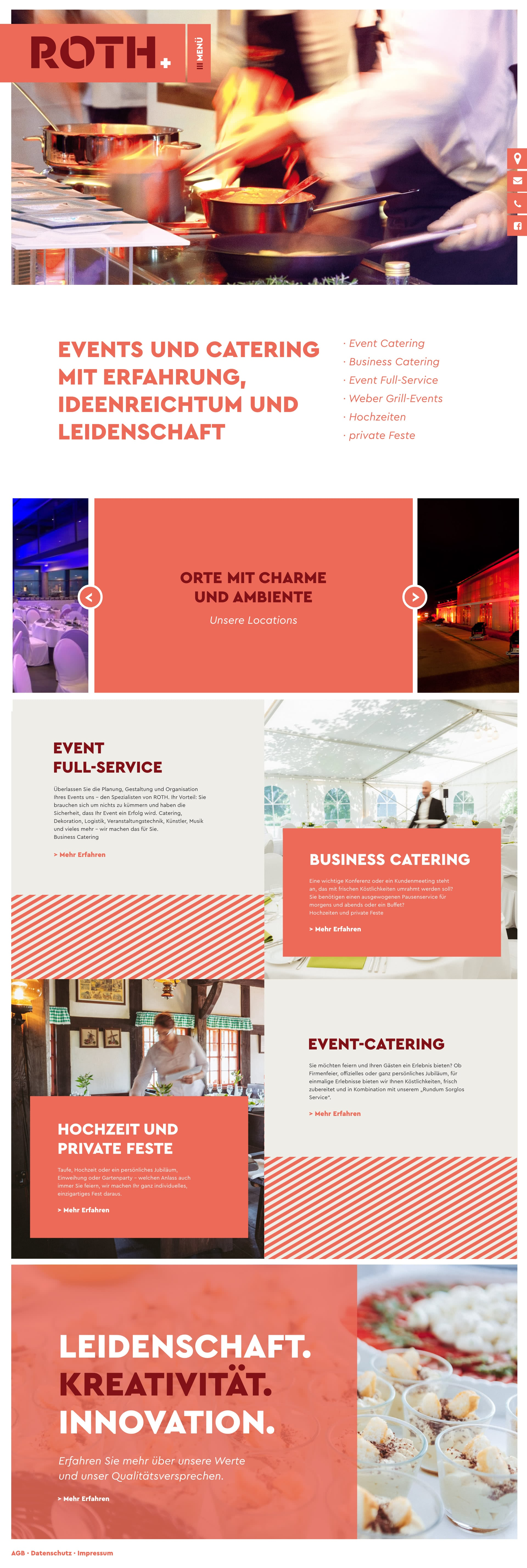 Website von ROTH Catering